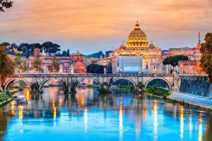 Фотографии Мосты Речка Вечер Италия Рим Собор Vatican Города