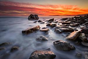 Картинка Болгария Море Рассветы и закаты Камень Берег Природа