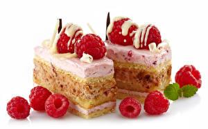 Обои Пирожное Малина Белый фон Двое Еда