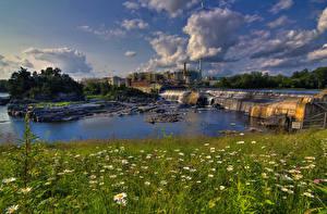 Фотографии Канада Реки Водопады Трава Bromptonville Quebec