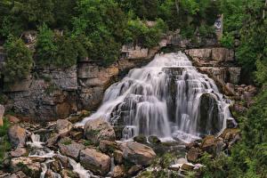 Обои Канада Водопады Камень Скала Rockford Ontario Природа