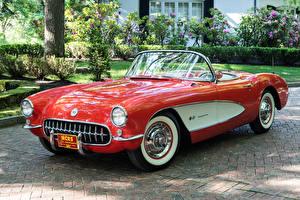 Обои Chevrolet Ретро Красный Металлик Кабриолет 1957 Corvette Fuel Injection 579B 283-283 HP Автомобили