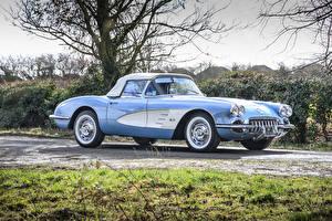 Фотографии Шевроле Ретро Голубой Металлик 1960 Corvette 283-270 HP