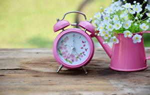 Обои Часы Будильник Розовый