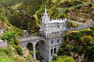 Фотографии Колумбия Храмы Мосты Речка Las Lajas