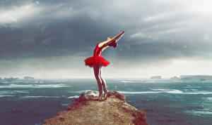 Фотография Утес Платье Танцует Руки Балет Девушки