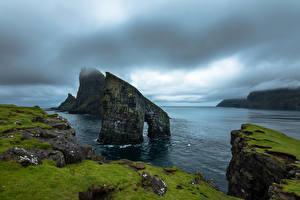 Фотография Дания Берег Залива Скала Faroe Islands Vagar Природа