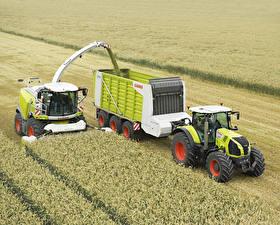 Картинка Поля Сельскохозяйственная техника Зерноуборочный комбайн Трактор Claas Jaguar 950, Claas Axion 840