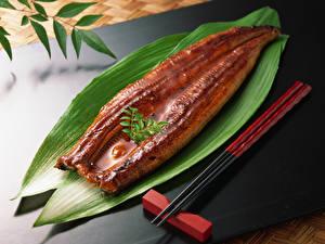 Фотографии Рыба Листья Палочки для еды Еда