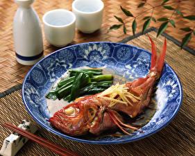 Фото Рыба Овощи Тарелка Пища