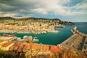 Фотография Франция Здания Берег Причалы Залив Nice Города