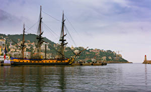 Обои Франция Здания Пирсы Корабли Парусные Залив Nice Города