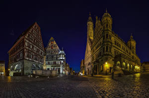 Картинка Германия Здания Дороги Бавария Улица Ночные Rothenburg