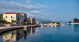 Картинки Греция Здания Пирсы Залив Kastelorizo Aegean