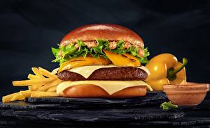Фотографии Гамбургер Крупным планом Фастфуд