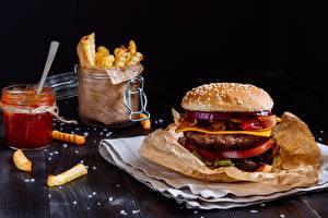 Фотография Гамбургер Быстрое питание Продукты питания