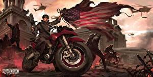 Обои Homefront Штаты Флаг The Revolution Игры Мотоциклы