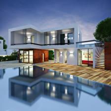 Фото Здания Особняк Дизайн Хай-тек стиль 3D Графика