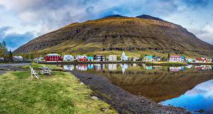 Фотографии Исландия Здания Горы Озеро Города