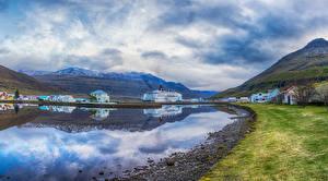 Фото Исландия Здания Горы Пирсы Залив Города