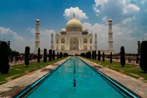 Картинки Индия Храмы Фонтаны Тадж-Махал Города