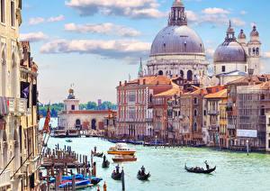 Фотография Италия Лодки Венеция Водный канал Города