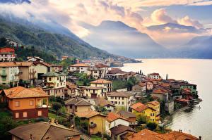 Фотография Италия Побережье Озеро Дома Гора Como Lake Milan Города