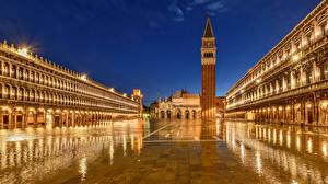 Фото Италия Ночные Венеция Городская площадь Piazza San Marco Города