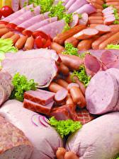 Обои Мясные продукты Ветчина Колбаса Сосиска Нарезка Продукты питания