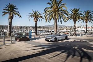 Картинки Мерседес бенц Серый Кабриолет 2018 AMG S63 4MATIC Cabriolet