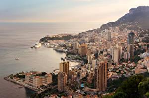 Картинки Монако Берег Здания Залив La Condamine Города