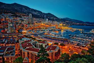 Фотография Монако Монте-Карло Дома Причалы Побережье Вечер Города