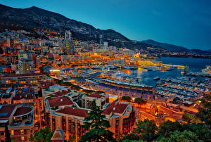 Фотография Монако Монте-Карло Дома Причалы Побережье Вечер город