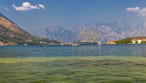 Фотография Черногория Здания Корабли Парусные Залив Kotor Города