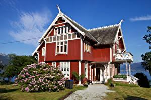 Фотографии Норвегия Здания Особняк Дизайн Кусты Balestrand