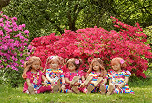 Фотография Парки Рододендрон Кукла Девочки Grugapark Essen