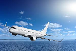 Обои Самолеты Пассажирские Самолеты Небо Море Полет Авиация
