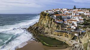 Картинка Португалия Берег Здания Утес Sintra Города