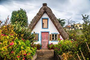 Фотографии Португалия Дома Кусты Madeira Santana