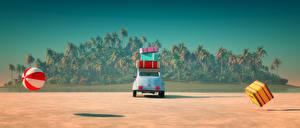 Фотография Курорты Тропики Чемодан Мяч Пальмы Природа 3D_Графика