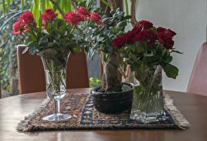 Фотографии Розы Ваза Цветы