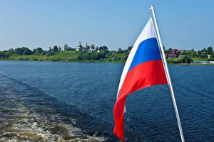 Фотографии Россия Речка Флаг Российские Uglich River Volga
