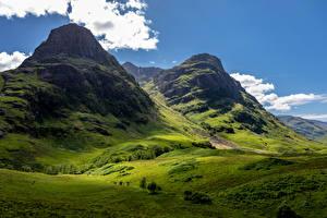 Картинки Шотландия Горы Мох Glencoe Природа