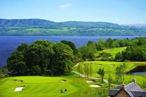 Обои Шотландия Парки Речка Поля Loch Lomond Природа