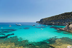 Фотография Испания Берег Корабли Залив Formentera Pityusic Islands