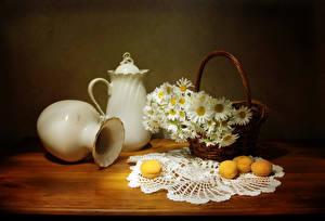 Картинки Натюрморт Ромашка Абрикос Вазе Кувшины Корзинка Столы цветок Еда