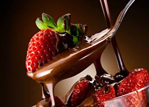 Картинки Клубника Шоколад Пища