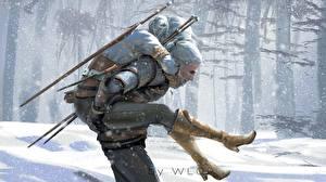 Фотографии The Witcher 3: Wild Hunt Геральт из Ривии Воители Ног Сапогов Фан АРТ Fan ART Игры Девушки Фэнтези