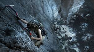 Картинка Tomb Raider Альпинизм Лара Крофт Скала Альпинист Shadow of the Tomb Raider компьютерная игра 3D_Графика