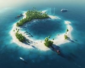 Фото Тропики Море Катера Остров Пальмы 3D Графика Природа